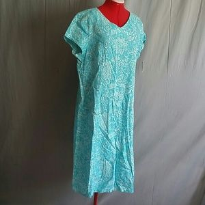 Talbots Dress Light Blue/White Size 16 Linen Blend